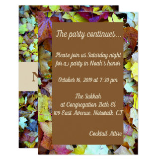 Party Card for Fall Leaves Mitzvah