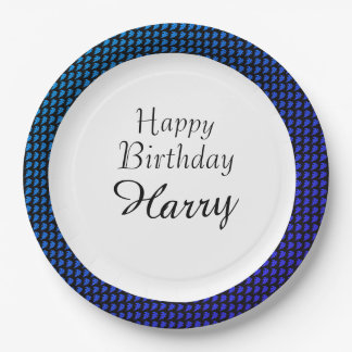 Party-Celebration-Leaves-Monogram-Blue_Birthday 9 Inch Paper Plate