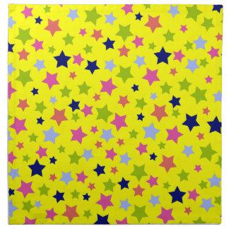 Party Celebration stars pattern on yellow Napkin