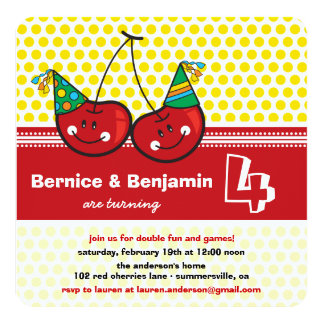 "Party Cherries Twins Joint Birthday Photo Invite 5.25"" Square Invitation Card"