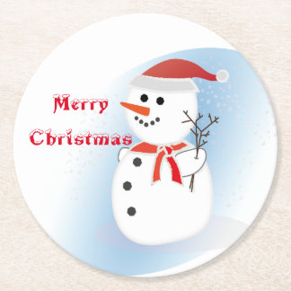 Party Coasters pulp board merry Christmas snowman