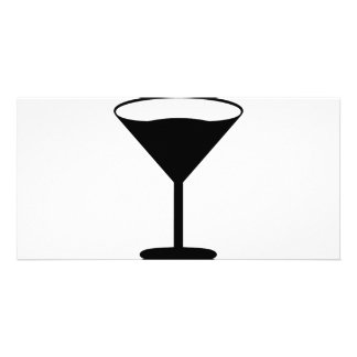 party cocktail icon black custom photo card