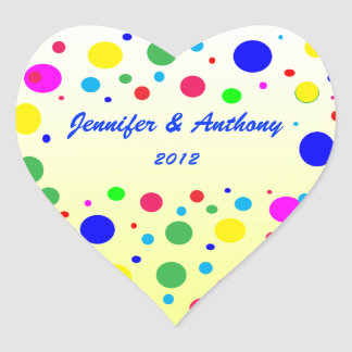 Party Colors Wedding Heart Stickers