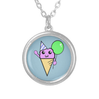Party Cone Round Pendant Necklace