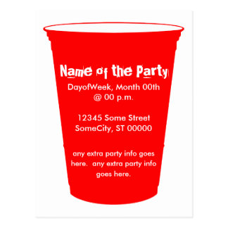 party cup invite postcards