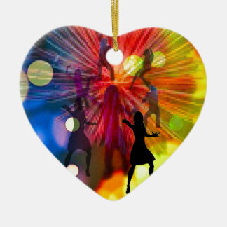 Party, dance and lights in celebration ceramic heart decoration
