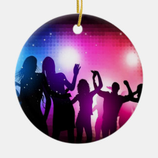 Party dancers design Double-Sided ceramic round christmas ornament