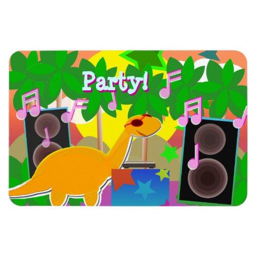 Party Dinosaur DJ Magnet Rectangle Magnets