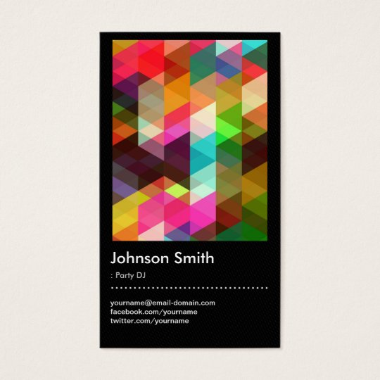 Party DJ - Colourful Mosaic Pattern Business Card