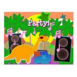 Party DJ Dinosaur Postcard