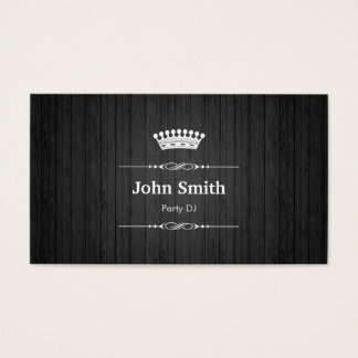 Party DJ Royal Black Wood Grain Business Card
