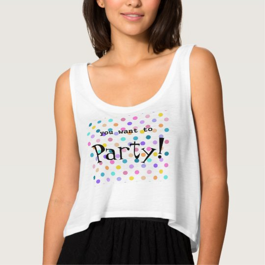 Party dots colourful flowy crop tank top