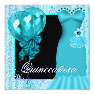Party Dress Balloons Purple Teal Blue Quinceanera 13 Cm X 13 Cm Square Invitation Card