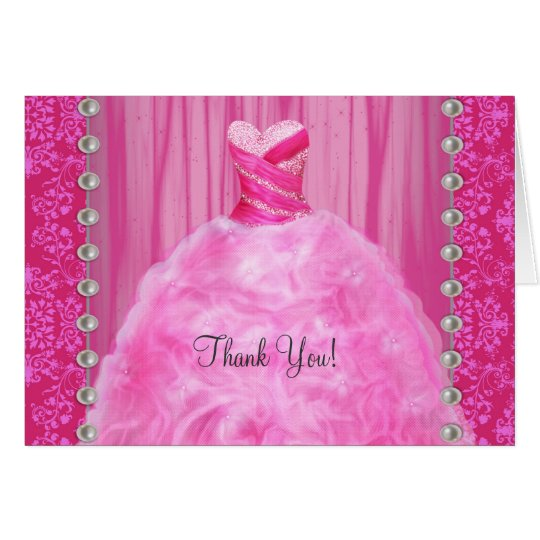 Party Dress Pearls Hot Pink Thank You Cards