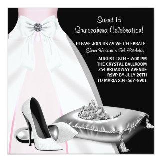 Party Dress Tiara Pink Black Quinceanera 13 Cm X 13 Cm Square Invitation Card
