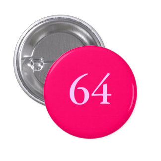 Party Favour 64th Birthday Button