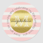 Party Favour Monogram Gold Glitter Pink Stripes Classic Round Sticker