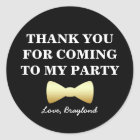Party Favour Stickers, Black and Gold with Bow Tie Classic Round Sticker