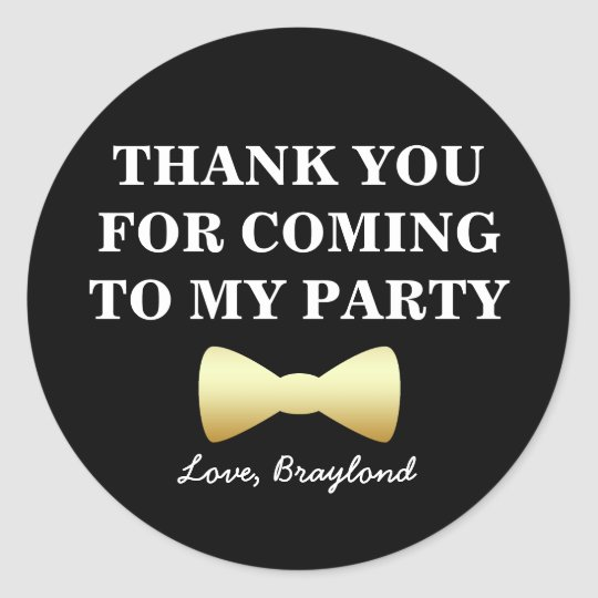 Party Favour Stickers, Black and Gold with Bow