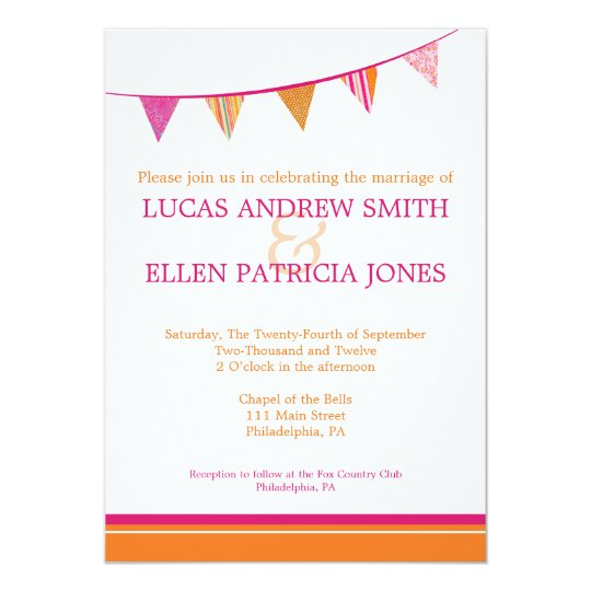 Pink Orange Wedding Invitations: Party Flags Wedding Invitation - Pink & Orange