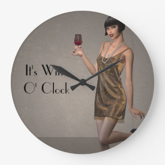 "Party Flapper Girl ""It's Wine O'Clock"" Wall Clock"