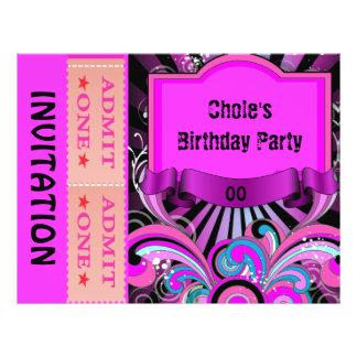 Party Flyer Girls Teen Tweens Hot Pink Ticket