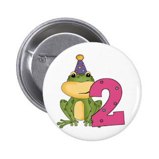 Party Frog 2nd Birthday T-shirts and Gifts Buttons