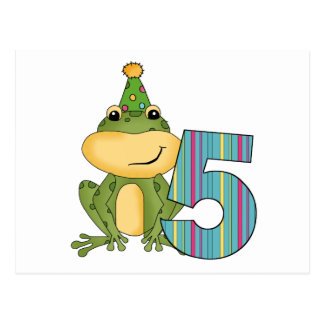 Party Frog 5th  Birthday T-shirts and Gifts Postcard