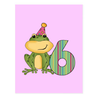 Party Frog 6th Birthday T-shirts and Gifts Postcards