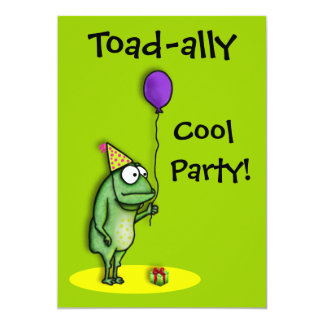 "Party Frog 5"" X 7"" Invitation Card"