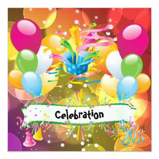 Party Fun Balloons Streamers Celebration Card