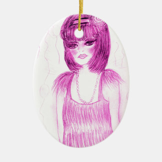 Party Girl Flapper in Hot Pink Ceramic Oval Decoration