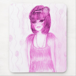 Party Girl Flapper in Hot Pink Mousepad