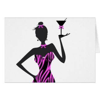 Party Girl Martini Zebra Pink Card