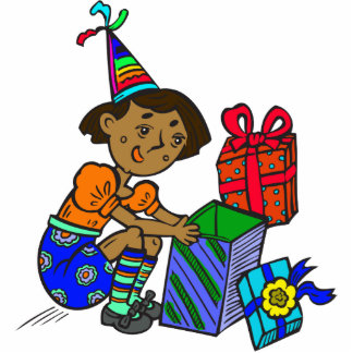 Party Girl Opening Gifts Photo Cut Out