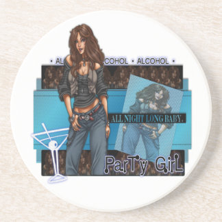 Party Girl - Sandstone Drink Coaster