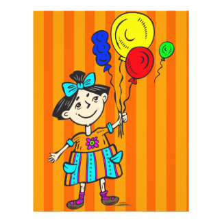 Party Girl With Balloons Full Color Flyer