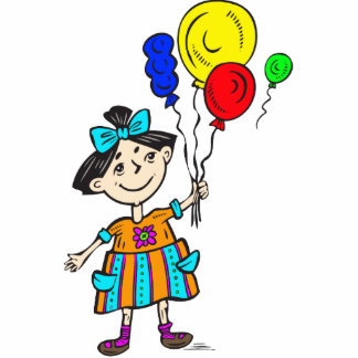 Party Girl With Balloons Photo Cut Out