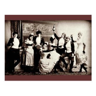 Party  Girls Vintage Print Postcard