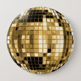 Party Gold Disco Ball Button