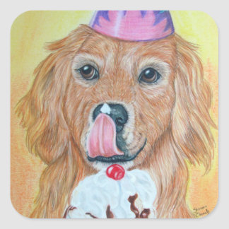 Party Golden Retriever Square Sticker