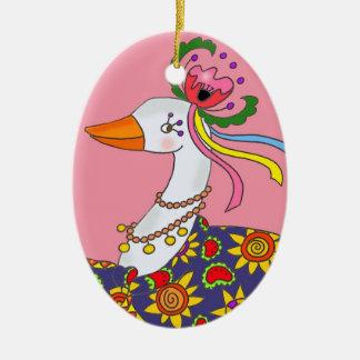 Party Goose Ukrainian Folk Art Christmas Ornament