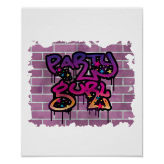 party gurl (girl) graffiti design poster