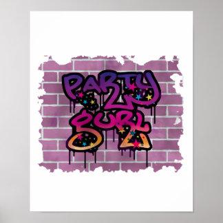party gurl girl graffiti design posters