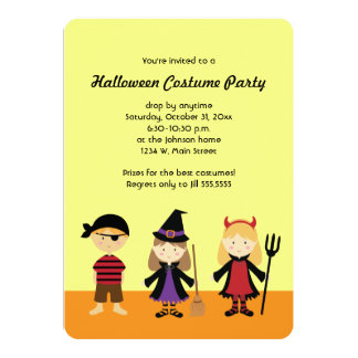 Party Halloween Kids Costume Invitations