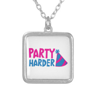PARTY HARDER! with party hat Necklaces