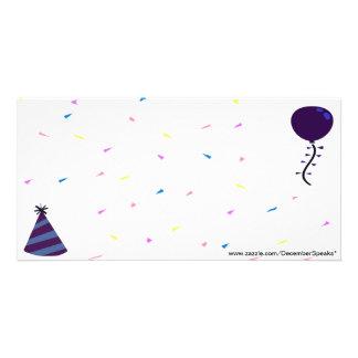 Party hat,Balloon & Confetti-blue Photo Card
