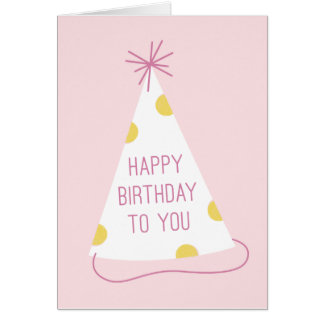 Party Hat Birthday Card - Blush