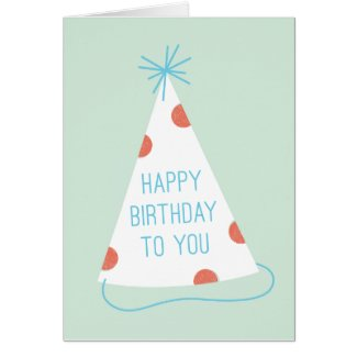 Party Hat Birthday Card - Mint