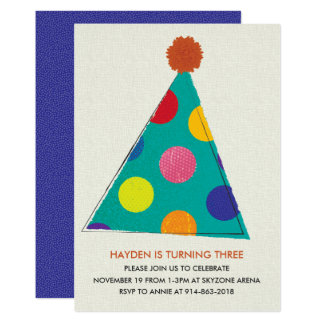 Party Hat Birthday Invitation, Card